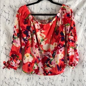 Yumi Kim Vermillion Bloom Off the Shoulder Top